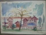 Peisaj cu copac si cladire// acuarela pe hartie