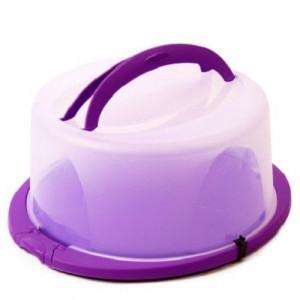 Suport pentru tort rotund cu mâner şi capac din plastic Sterk