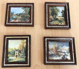 Serie - Tablouri matase - decorative / de colectie - rama de lemn - 4 Anotimpuri