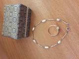 Set, bratara si inel argint 925, cu perle de cultura, China