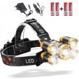 Lanterna de Cap cu 5 LED-uri , 30W , 8000 Lumeni ,Acumulatori de rezerva inclusi