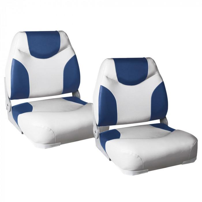 Set 2 Scaune Capitan 1, 425 x 410 x 500 mm, imitatie piele, albastru/alb