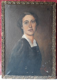 Portret de tanara, pictura veche semnata, ulei pe panza
