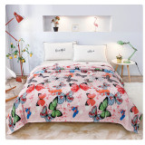 Cumpara ieftin Patura de pat cocolino 230×200, RozFleece, roz cu fluturi colorati