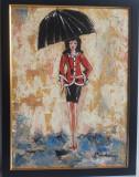 """PICTURA,TABLOU modern romanesc ,decorativ,""""Fata cu jacheta rosie in ploaie"""", nou, Portrete, Ulei, Art Deco"""