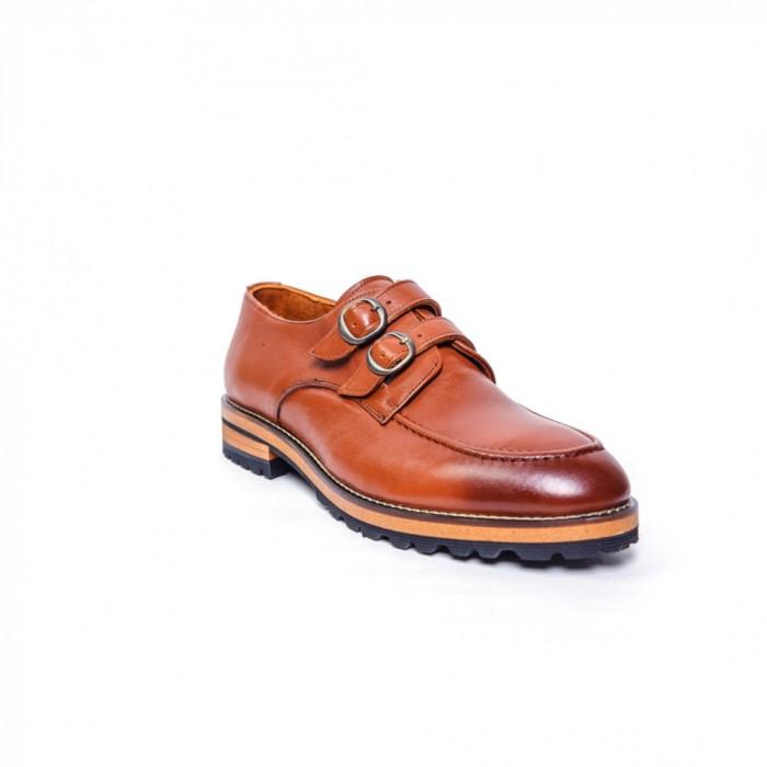 Pantofi Francesco Ricotti double monk,piele naturala,culoare cognac