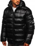 Cumpara ieftin Geacă de iarnă bărbați neagră-gri matlasată Bolf 6461