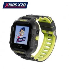 Ceas Smartwatch Pentru Copii Xkids X20 cu Functie Telefon, Localizare GPS, Apel monitorizare, Camera, Pedometru, SOS, IP54, Incarcare magnetica, Negru