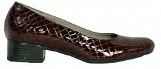 Pantofi dama casual din piele lacuita de culoare maro Ninna Art 234 foto