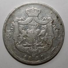 IEFTIN !!! 5 LEI 1881 5 STELE ., Argint