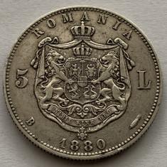 5 Lei 1880 Argint, Romania, VF/XF, Kullrich sub efigie