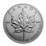 Cumpara ieftin Moneda argint 999 lingou, Maple Leaf 1992 Canada 1 oz=31 grame