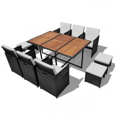 Set mobilier de exterior 27 piese, poliratan și acacia, negru foto
