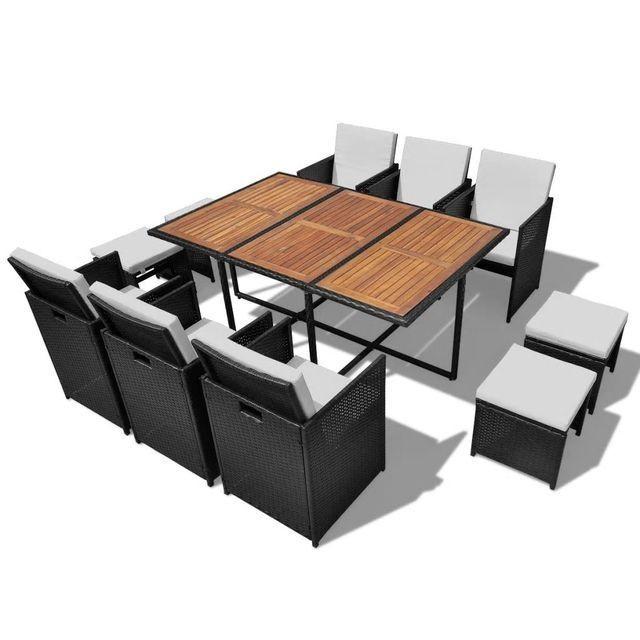 Set mobilier de exterior 27 piese, poliratan și acacia, negru