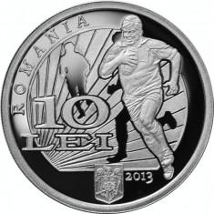 Moneda argint 100 de ani de la primul meci oficial de rugby din România