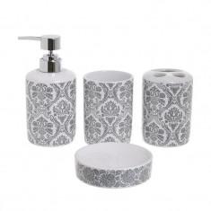 Set 4 piese pantru baie din ceramica culoare alb si gri