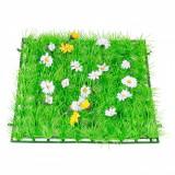 Placa iarba sintetica pentru gradina, 25x25cm, cu flori