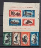 1948 Munca in comunicatii serie si colita stampilate LP 45 lei