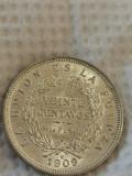Bolivia 20 centavos 1909 H argint