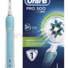 Periuta de dinti electrica Oral-B PRO 500 Cross Action, 8800 oscilatii/min, 1 program, 1 capat (Alb/Albastru)