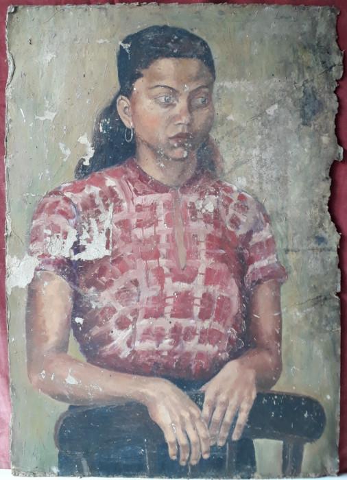 Portret de tanara femeie, pictura veche, 73 x 51 cm