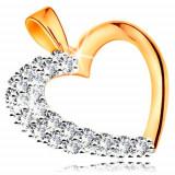 Cumpara ieftin Pandantiv realizat din aur de 14K -contur lucios inimă cu zirconii