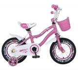 Bicicleta Copii Rich Baby R1204A, Roti 12inch, frana C-Brake, Roti Ajutatoare cu led (Roz)