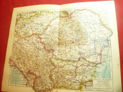 Harta Ungariei ,Romaniei ,Iugoslaviei de sud ,Bulgariei , Germania ,anii'20 foto