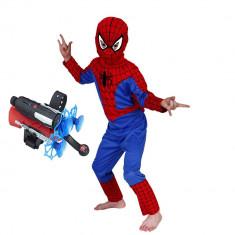 Set costum Spiderman L 120 130 cm si lansator cu ventuze