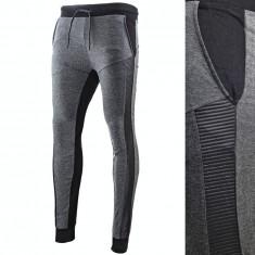 Pantaloni pentru barbati, slim fit, gri-inchis, cu siret, banda jos - carbon