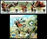 Romania 2004, LP 1636 + 1637, Cinegetica, straif de 5 + colita, MNH! RARE!!!, Fauna, Nestampilat