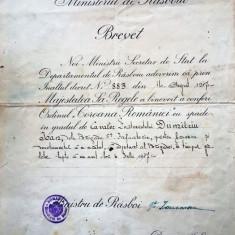 """BREVET PENTRU ORDINUL """"COROANA ROMANIEI""""CU SPADE IN GRAD DE CAVALER"""
