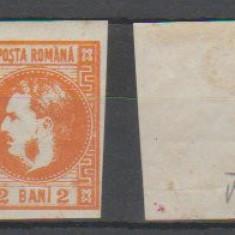 1868 - Carol I cu favoriti, 2bani nestampilat