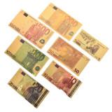 Lot 7 bancnote Euro placate cu aur 24k Gold Set colectie