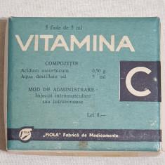 cutie veche Epoca de Aur, reclama VITAMINA  C - Fiola - fabrica de medicamente