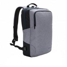 Rucsac Laptop 15 inch cu port usb pentru incarcare, XD by AleXer, AA, poliester, gri, breloc inclus din piele ecologica si metal