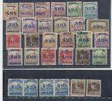 1919 IUGOSLAVIA lot 30 timbre inclusiv erori sursarj pe Ungaria SHS & Baranya, Nestampilat