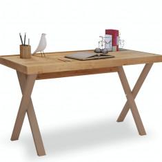 Masa de birou din pal si metal, pentru tineret Young Stejar, L130xl70xH75,5 cm