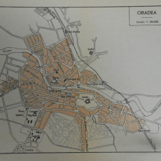 Harta Oradea 1920, 17x18 cm, scara 1:30.000, stare perfecta
