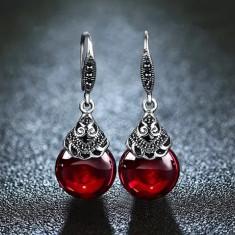 Cercei argint 925 cu Granat rosu