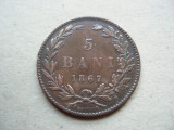 ROMANIA - 5 BANI 1867 HEATON , CAROL I, L7.54