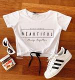 Tricou dama ieftin din bumbac alb cu imprimeu Beautiful