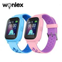 Pachet Promotional 2 Smartwatch-uri Pentru Copii Wonlex KT04 cu Functie Telefon, GPS, Camera, IP54, Roz + Albastru, Cartela SIM Cadou
