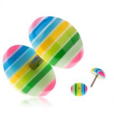 Plug fals pentru ureche din acrilic - dungi galbene, verzi, albastre şi roz