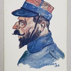 ALIATII NOSTRI - FRANTA , DESEN de STEURER , CARTE POSTALA ILUSTRATA , POLICROMA , NECIRCULATA , DATATA 1916