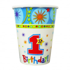 Pahare carton 1st Birthday - 250ml, Amscan 589292, Set 8 buc