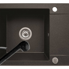 Pachet chiuveta granit KORFU 62x46 1B1D + Baterie FIDO Pyramis Negru