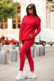 Trening dama din tricot rosu cu bluza pe gat si model impletit
