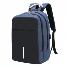 Rucsac pentru barbati, HuaPai GT113, Smart cu USB, multifunctional, laptop, calatorie, sport, anti furt, model albastru