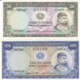 Bancnota Guineea Portugheza 50 si 100 Escudos 1971 - P44/ 45 UNC ( set x2 )